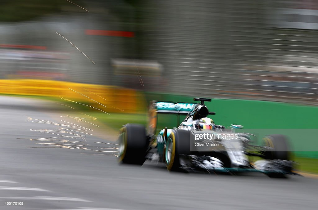 Lewis Hamilton of Great Britain and Mercedes GP drives during final practice for the Australian Formula One Grand Prix at Albert Park on March 14, 2015 in Melbourne, Australia.