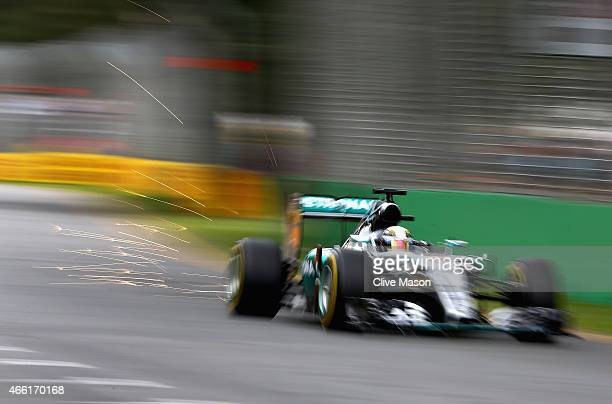 Lewis Hamilton of Great Britain and Mercedes GP drives during final practice for the Australian Formula One Grand Prix at Albert Park on March 14...