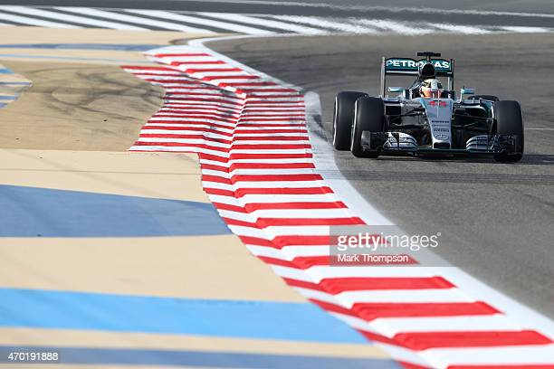 Lewis Hamilton of Great Britain and Mercedes GP drives during final practice for the Bahrain Formula One Grand Prix at Bahrain International Circuit...