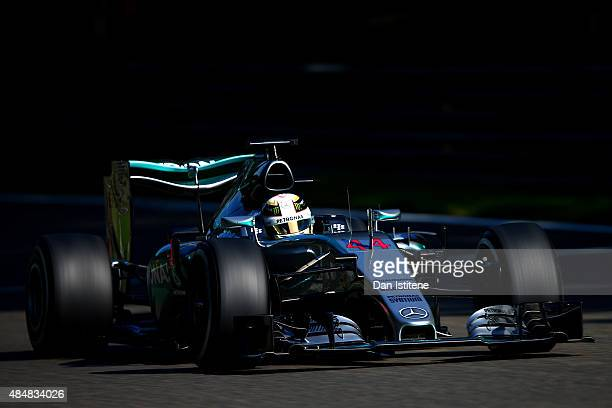 Lewis Hamilton of Great Britain and Mercedes GP drives during final practice for the Formula One Grand Prix of Belgium at Circuit de SpaFrancorchamps...