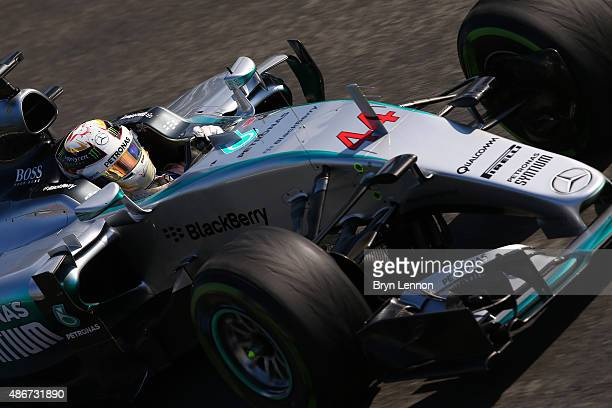 Lewis Hamilton of Great Britain and Mercedes GP drives during final practice for the Formula One Grand Prix of Italy at Autodromo di Monza on...