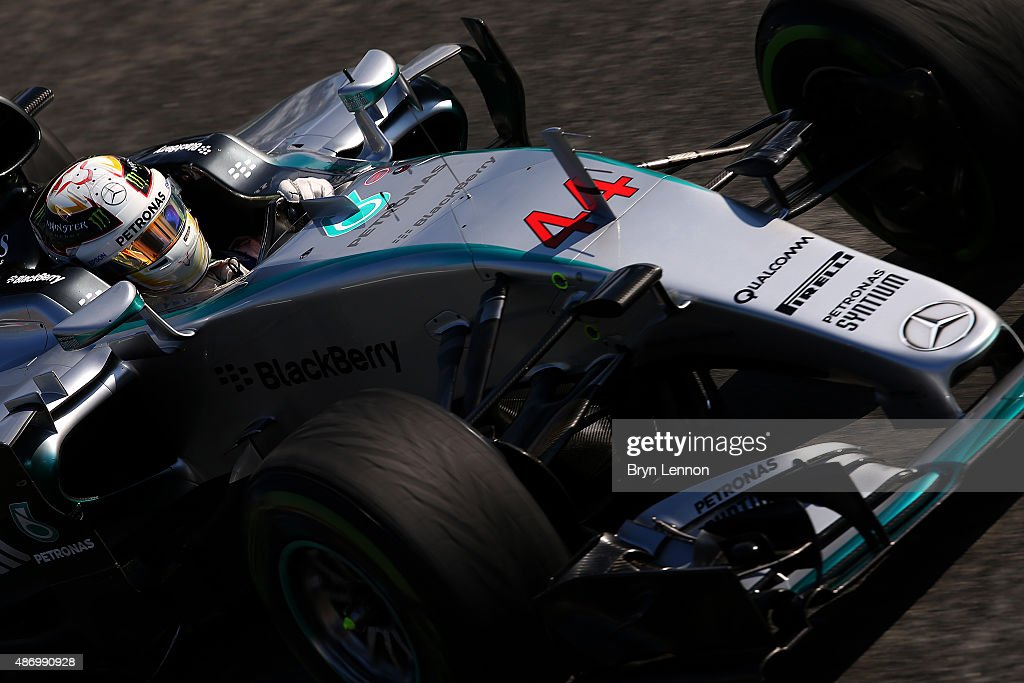 Lewis Hamilton of Great Britain and Mercedes GP drives during final practice for the Formula One Grand Prix of Italy at Autodromo di Monza on September 5, 2015 in Monza, Italy.