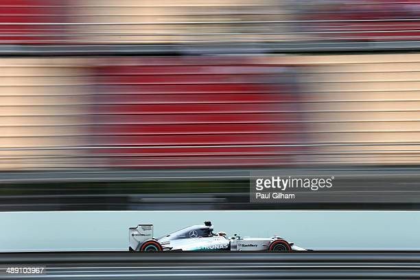 Lewis Hamilton of Great Britain and Mercedes GP drives during final practice ahead of the Spanish F1 Grand Prix at Circuit de Catalunya on May 10...