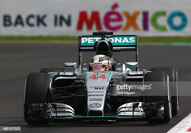 Lewis Hamilton of Great Britain and Mercedes GP drives during final practice for the Formula One Grand Prix of Mexico at Autodromo Hermanos Rodriguez...