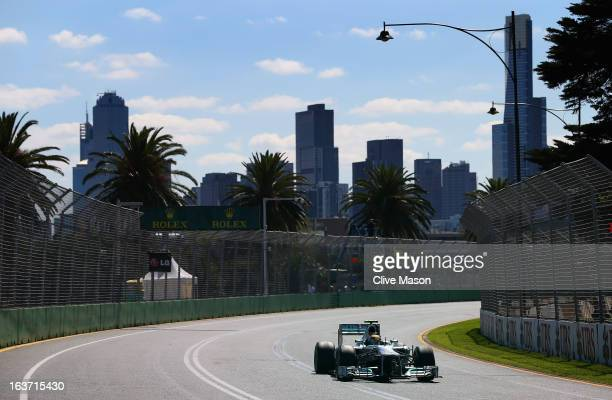 Lewis Hamilton of Great Britain and Mercedes GP drives during practice for the Australian Formula One Grand Prix at the Albert Park Circuit on March...