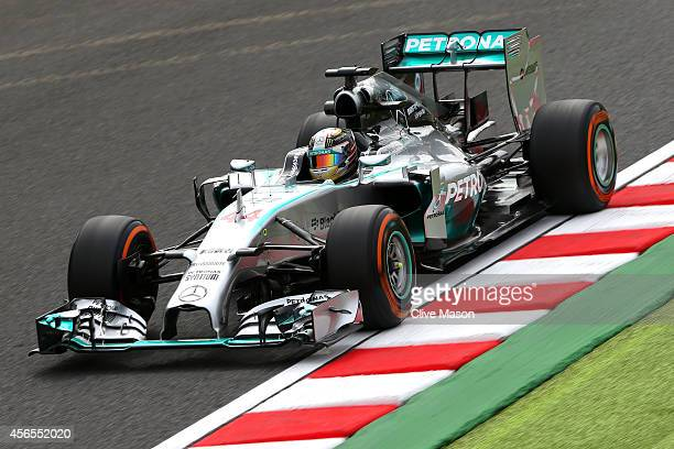 Lewis Hamilton of Great Britain and Mercedes GP drives during practice for the Japanese Formula One Grand Prix at Suzuka Circuit on October 3, 2014...