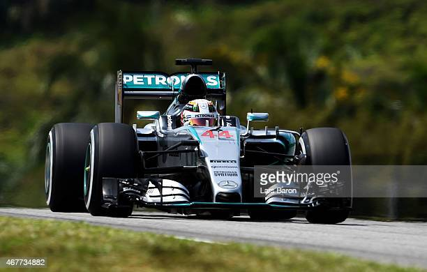 Lewis Hamilton of Great Britain and Mercedes GP drives during practice for the Malaysia Formula One Grand Prix at Sepang Circuit on March 27 2015 in...