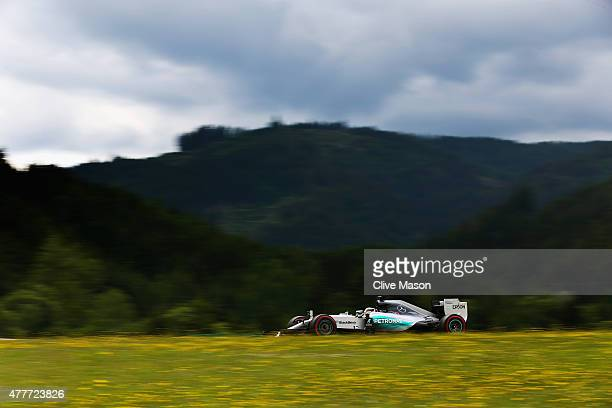 Lewis Hamilton of Great Britain and Mercedes GP drives during practice for the Formula One Grand Prix of Austria at Red Bull Ring on June 19 2015 in...