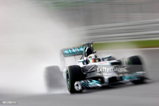 Lewis Hamilton of Great Britain and Mercedes GP drives during qualifying for the Malaysia Formula One Grand Prix at the Sepang Circuit on March 29...