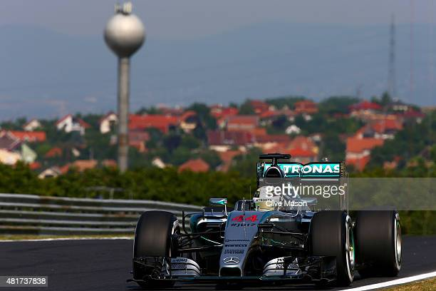 Lewis Hamilton of Great Britain and Mercedes GP drives during practice for the Formula One Grand Prix of Hungary at Hungaroring on July 24 2015 in...