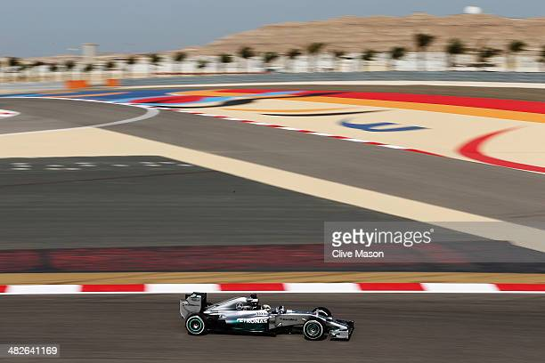 Lewis Hamilton of Great Britain and Mercedes GP drives during practice for the Bahrain Formula One Grand Prix at the Bahrain International Circuit on...