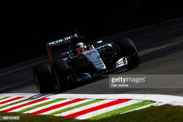 Lewis Hamilton of Great Britain and Mercedes GP drives during practice for the Formula One Grand Prix of Italy at Autodromo di Monza on September 4...