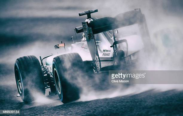 Lewis Hamilton of Great Britain and Mercedes GP drives during practice for the Formula One Grand Prix of Japan at Suzuka Circuit on September 25,...