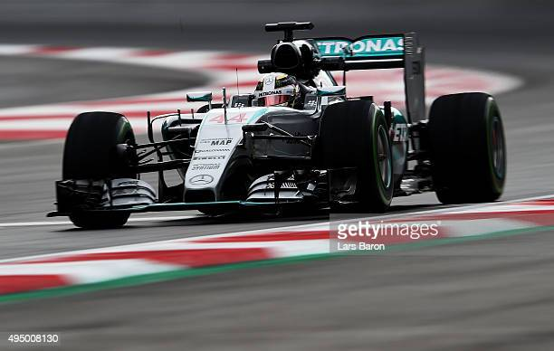Lewis Hamilton of Great Britain and Mercedes GP drives during practice for the Formula One Grand Prix of Mexico at Autodromo Hermanos Rodriguez on...