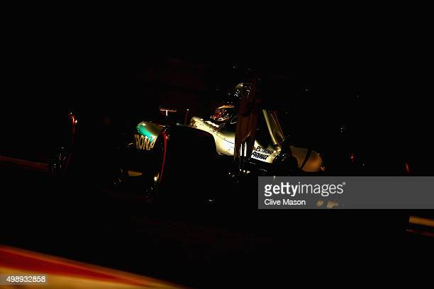 Lewis Hamilton of Great Britain and Mercedes GP drives during practice for the Abu Dhabi Formula One Grand Prix at Yas Marina Circuit on November 27,...