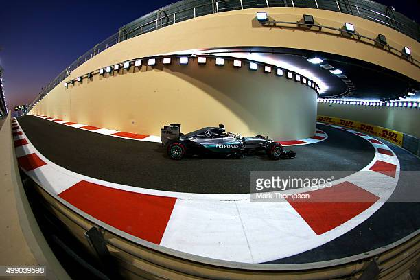 Lewis Hamilton of Great Britain and Mercedes GP drives during qualifying for the Abu Dhabi Formula One Grand Prix at Yas Marina Circuit on November...