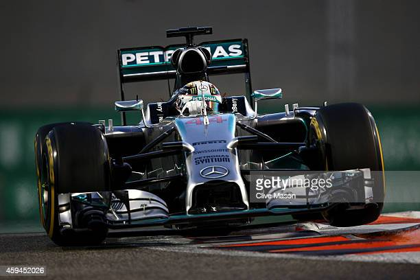 Lewis Hamilton of Great Britain and Mercedes GP drives during the Abu Dhabi Formula One Grand Prix at Yas Marina Circuit on November 23 2014 in Abu...