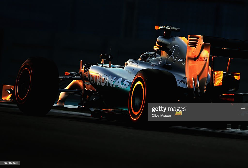 Lewis Hamilton of Great Britain and Mercedes GP drives during the Abu Dhabi Formula One Grand Prix at Yas Marina Circuit on November 23, 2014 in Abu Dhabi, United Arab Emirates.