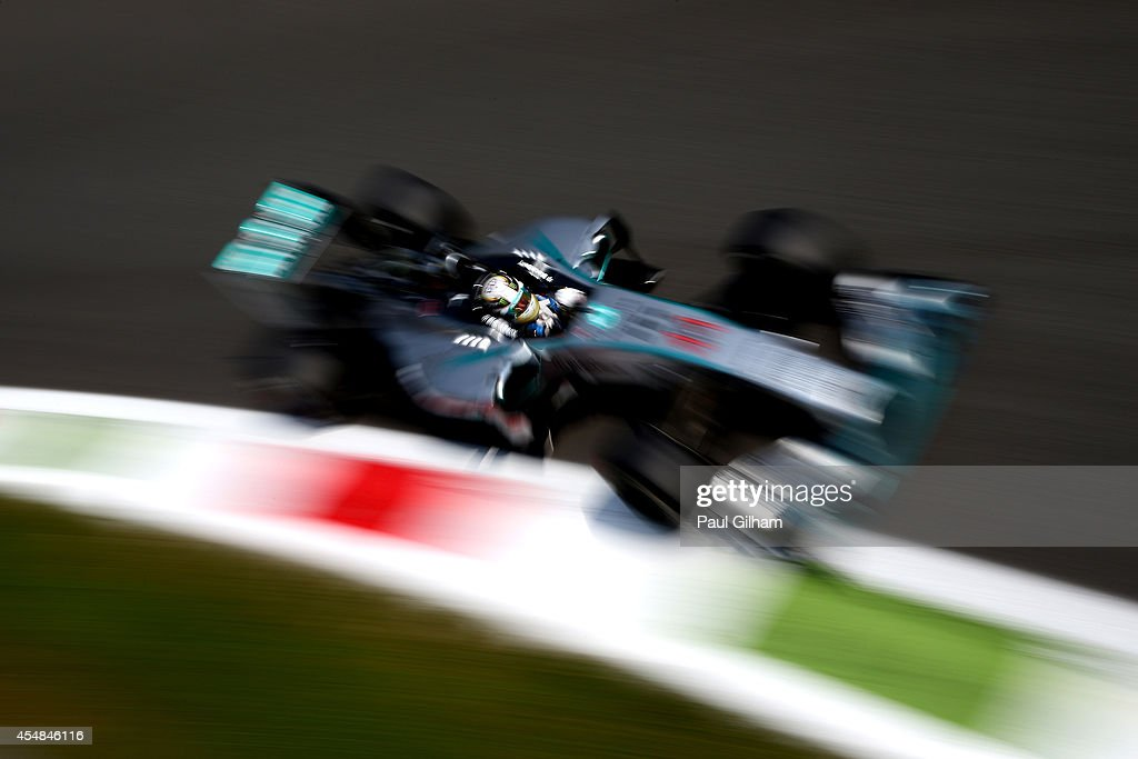 Lewis Hamilton of Great Britain and Mercedes GP drives during the F1 Grand Prix of Italy at Autodromo di Monza on September 7, 2014 in Monza, Italy.