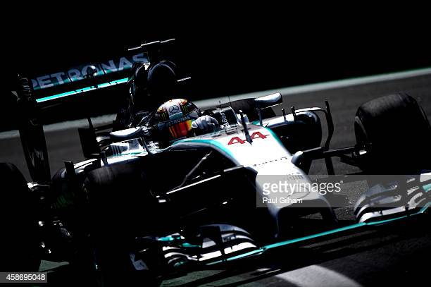 Lewis Hamilton of Great Britain and Mercedes GP drives during the Brazilian Formula One Grand Prix at Autodromo Jose Carlos Pace on November 9 2014...