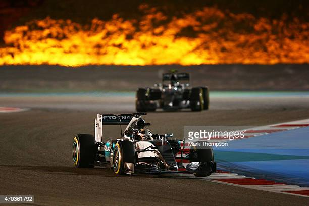 Lewis Hamilton of Great Britain and Mercedes GP drives during the Bahrain Formula One Grand Prix at Bahrain International Circuit on April 19 2015 in...