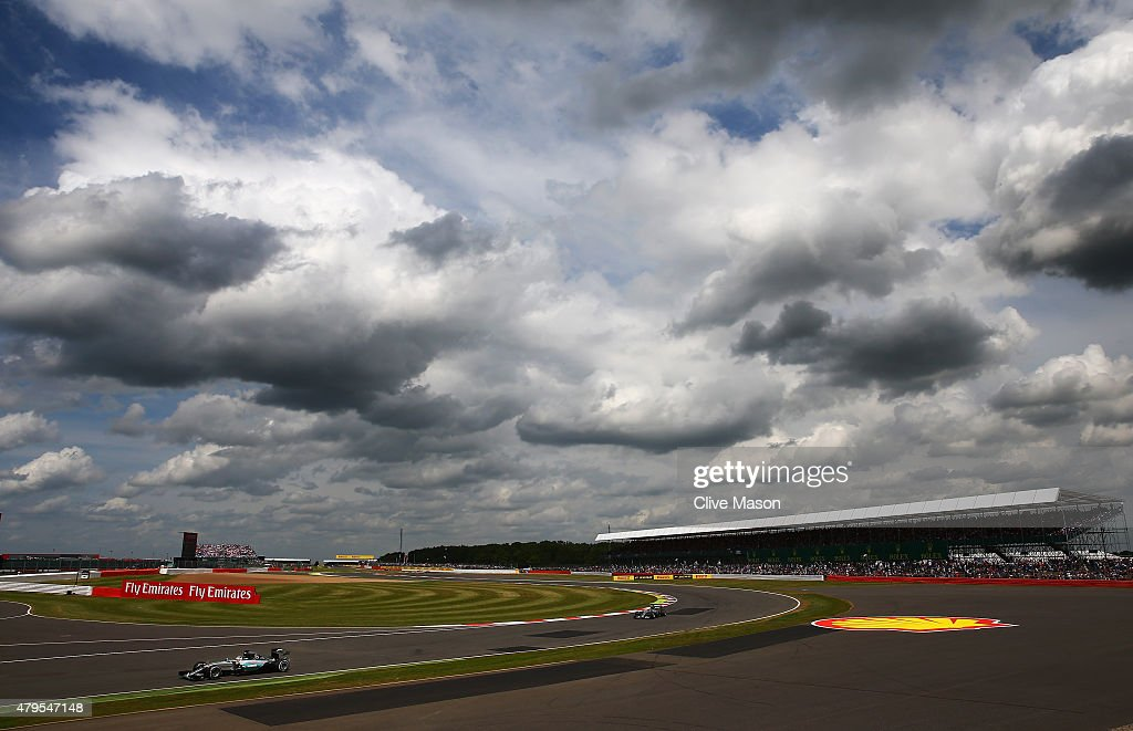 Lewis Hamilton of Great Britain and Mercedes GP drives during the Formula One Grand Prix of Great Britain at Silverstone Circuit on July 5, 2015 in Northampton, England.