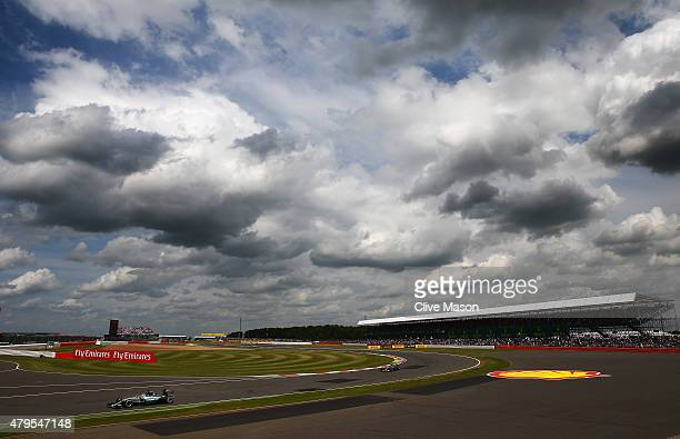 Lewis Hamilton of Great Britain and Mercedes GP drives during the Formula One Grand Prix of Great Britain at Silverstone Circuit on July 5 2015 in...