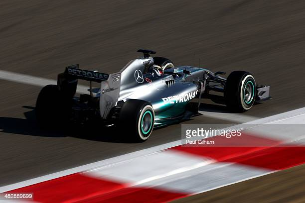 Lewis Hamilton of Great Britain and Mercedes GP drives during the final practice session prior to qualifying for the Bahrain Formula One Grand Prix...
