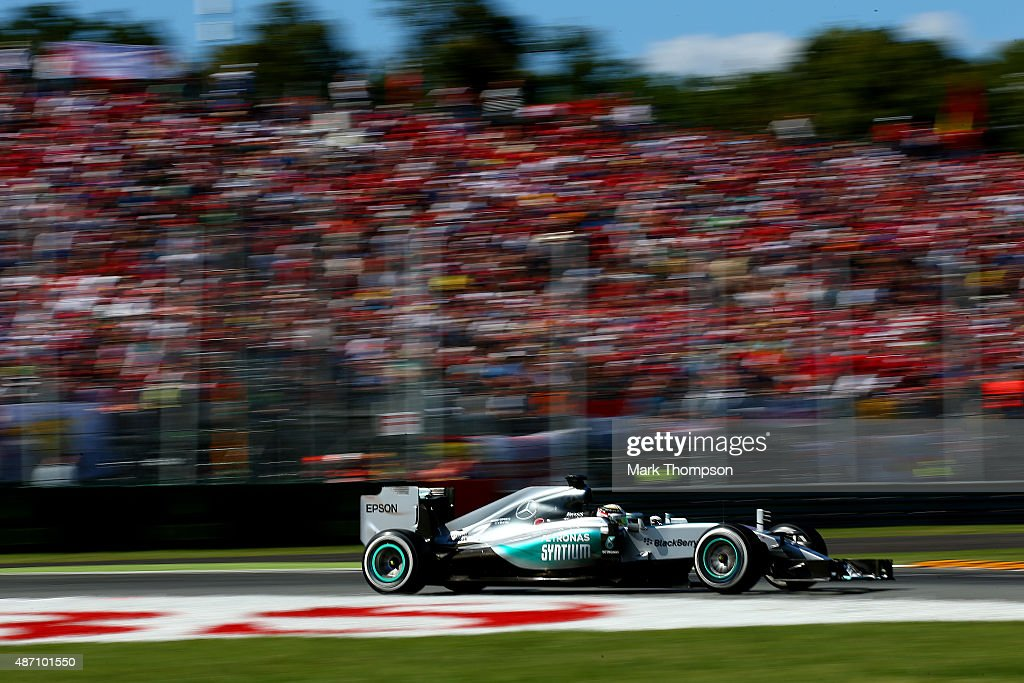Lewis Hamilton of Great Britain and Mercedes GP drives during the Formula One Grand Prix of Italy at Autodromo di Monza on September 6, 2015 in Monza, Italy.