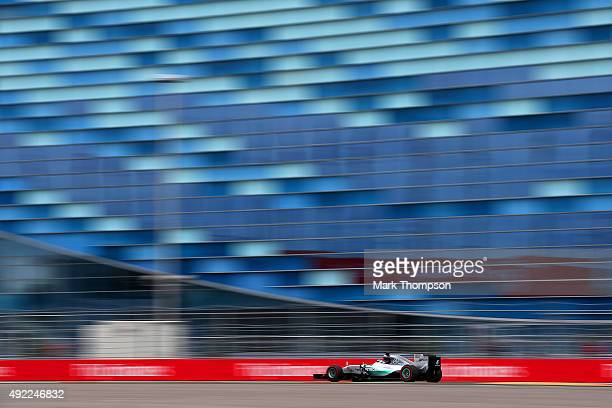 Lewis Hamilton of Great Britain and Mercedes GP drives during the Formula One Grand Prix of Russia at Sochi Autodrom on October 11, 2015 in Sochi,...