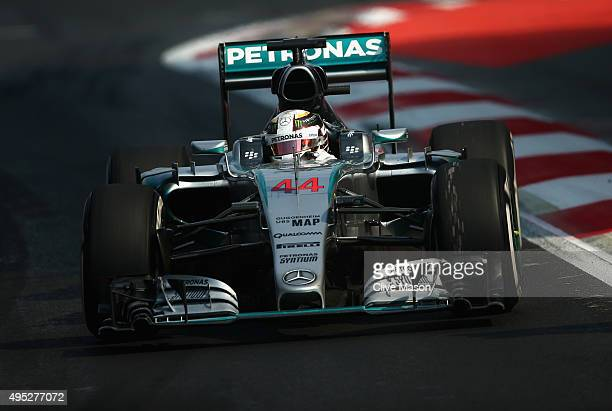 Lewis Hamilton of Great Britain and Mercedes GP drives during the Formula One Grand Prix of Mexico at Autodromo Hermanos Rodriguez on November 1,...