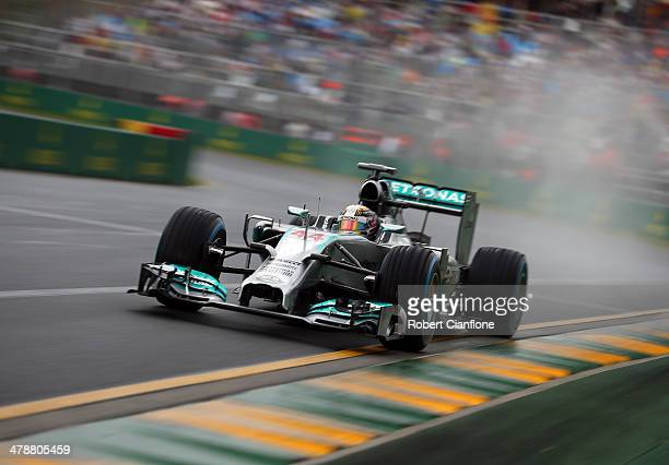 Lewis Hamilton of Great Britain and Mercedes GP drives on his way to finishing first during qualifying for the Australian Formula One Grand Prix at...