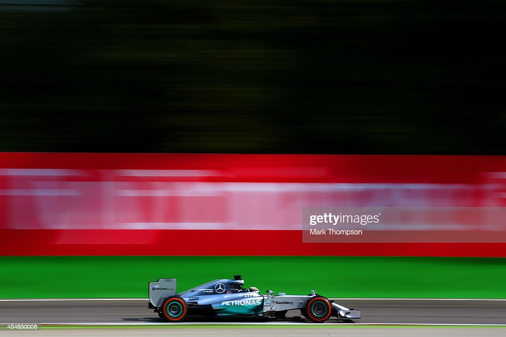 Lewis Hamilton of Great Britain and Mercedes GP drives the F1 Grand Prix of Italy at Autodromo di Monza on September 7, 2014 in Monza, Italy.