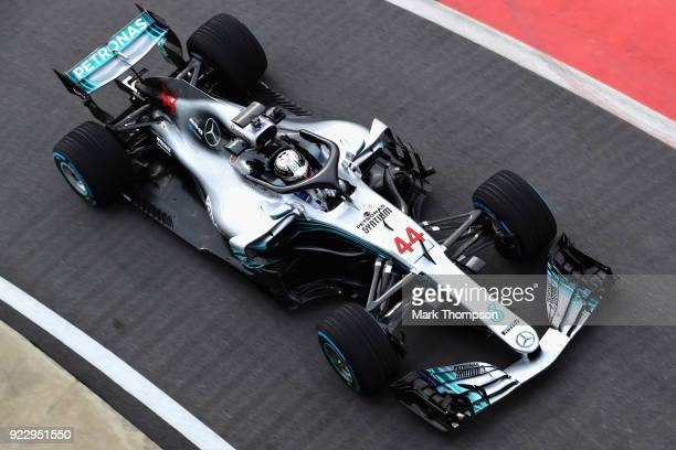 Lewis Hamilton of Great Britain and Mercedes GP driving the Mercedes W09 on track during the launch of the Mercedes Formula One team's 2018 car the...