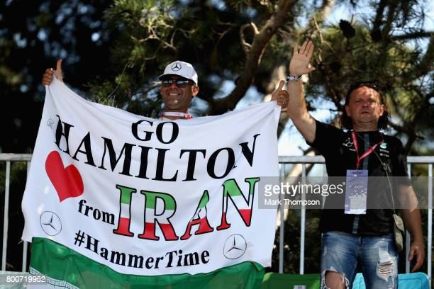 Lewis Hamilton of Great Britain and Mercedes GP fans with a banner during the Azerbaijan Formula One Grand Prix at Baku City Circuit on June 25 2017...