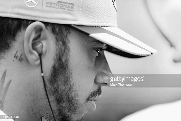 Lewis Hamilton of Great Britain and Mercedes GP gets ready on the grid before the Formula One Grand Prix of Japan at Suzuka Circuit on October 9 2016...