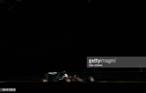 Lewis Hamilton of Great Britain and Mercedes GP in action during final practice for the Formula One Grand Prix of Belgium at Circuit de...