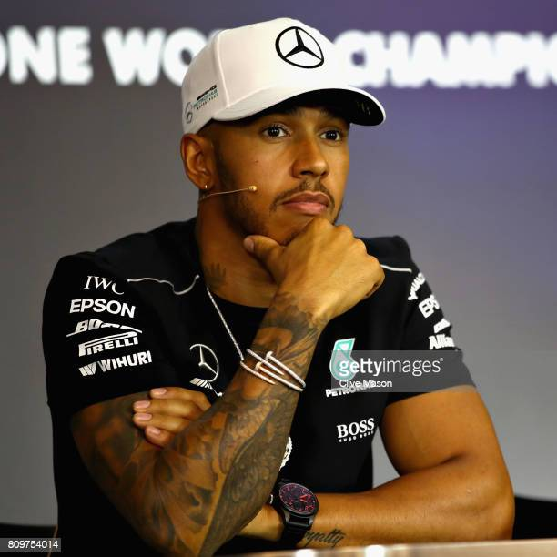 Lewis Hamilton of Great Britain and Mercedes GP in the Drivers Press Conference during previews ahead of the Formula One Grand Prix of Austria at Red...