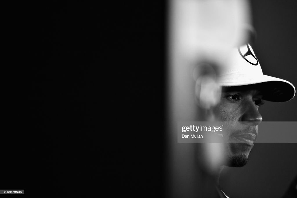 Lewis Hamilton of Great Britain and Mercedes GP in the Drivers Press Conference during previews ahead of the Formula One Grand Prix of Great Britain at Silverstone on July 13, 2017 in Northampton, England.