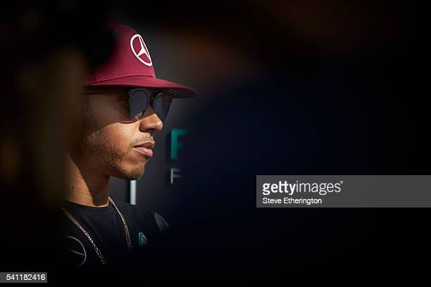 Lewis Hamilton of Great Britain and Mercedes GP in the Paddock during previews ahead of the European Formula One Grand Prix at Baku City Circuit on...
