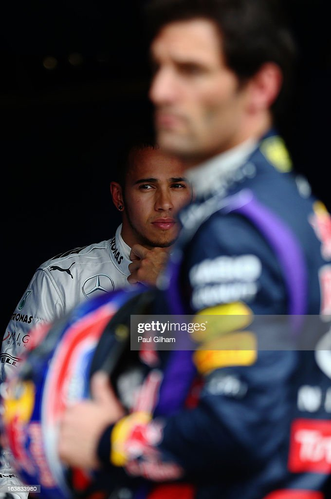 Lewis Hamilton of Great Britain and Mercedes GP is seen in parc ferme after finishing third during the weather delayed qualifying session for the Australian Formula One Grand Prix at the Albert Park Circuit on March 17, 2013 in Melbourne, Australia.