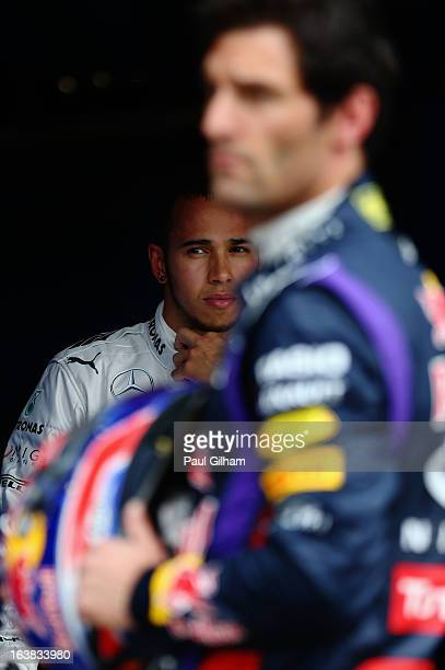 Lewis Hamilton of Great Britain and Mercedes GP is seen in parc ferme after finishing third during the weather delayed qualifying session for the...