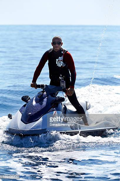 Lewis Hamilton of Great Britain and Mercedes GP jetskis during previews to the Monaco Formula One Grand Prix at the Circuit de Monaco on May 22, 2013...