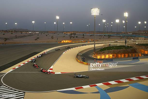 Lewis Hamilton of Great Britain and Mercedes GP leads during the Bahrain Formula One Grand Prix at Bahrain International Circuit on April 19 2015 in...