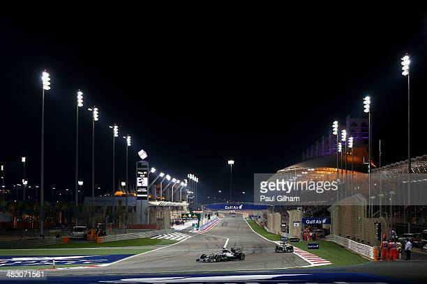 Lewis Hamilton of Great Britain and Mercedes GP leads from team mate Nico Rosberg of Germany and Mercedes GP during the Bahrain Formula One Grand...