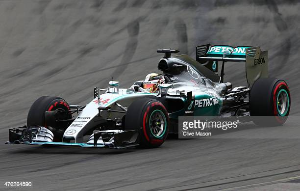 Lewis Hamilton of Great Britain and Mercedes GP leads uring the Canadian Formula One Grand Prix at Circuit Gilles Villeneuve on June 7 2015 in...