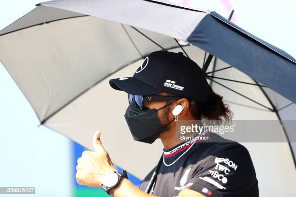 Lewis Hamilton of Great Britain and Mercedes GP looks on from the drivers parade before the F1 Grand Prix of Italy at Autodromo di Monza on September...