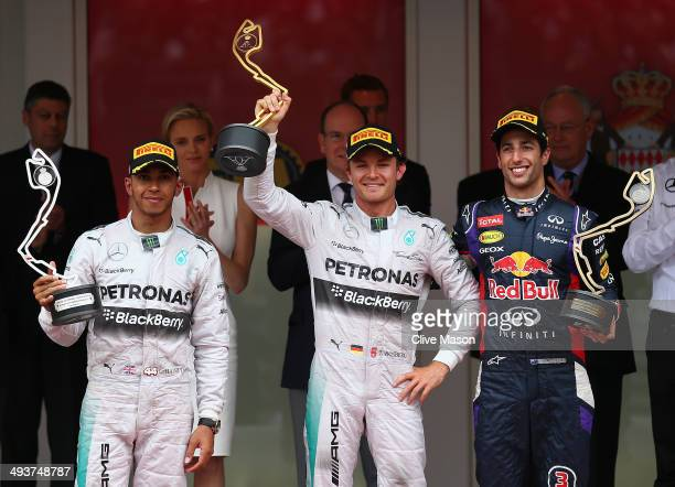 Lewis Hamilton of Great Britain and Mercedes GP Nico Rosberg of Germany and Mercedes GP and Daniel Ricciardo of Australia and Infiniti Red Bull...