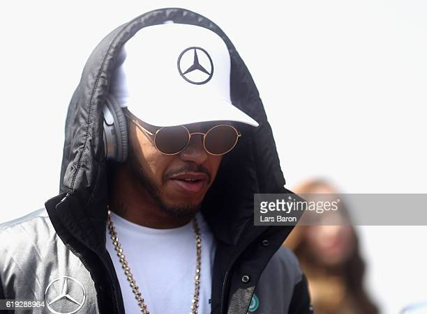 Lewis Hamilton of Great Britain and Mercedes GP on the drivers parade before the Formula One Grand Prix of Mexico at Autodromo Hermanos Rodriguez on...
