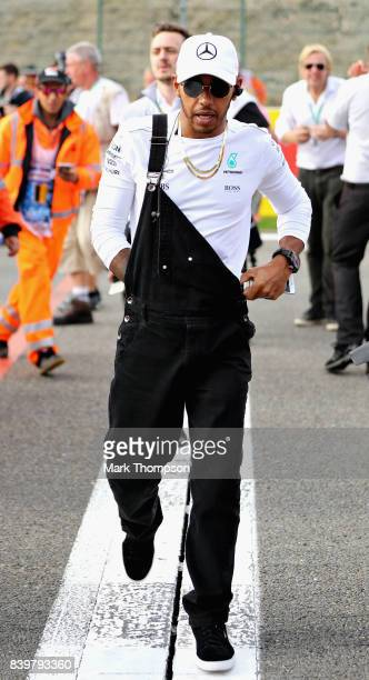 Lewis Hamilton of Great Britain and Mercedes GP on the drivers parade before the Formula One Grand Prix of Belgium at Circuit de SpaFrancorchamps on...
